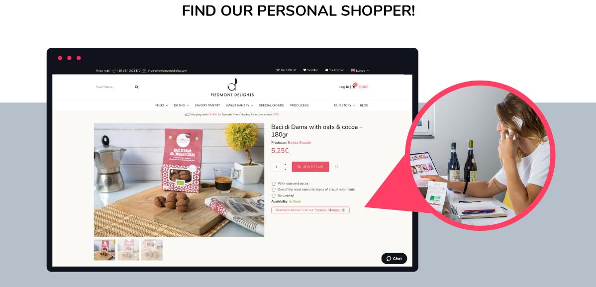 Opzione personal Shopper sull'e-commerce di Piedmont Delights